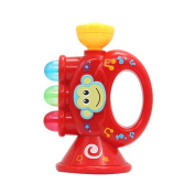 Baby Children Mini Trumpet Horn with Cute Monkey Pattern Toy Educational Musical Instrument Toy red