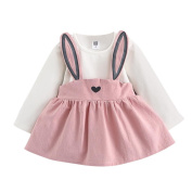 Toddler Girl Cute Mini Dress, Keepfit Rabbit Bandage Suit Autumn Baby Kids Cotton Ball Gown . , Pink)