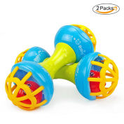 2 PCs Baby Musical Hand Shaking Rattle Toy Todder Educational Teether Dumbbell Toy