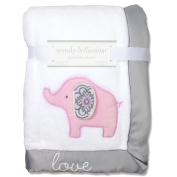 Wendy Bellissimo Super Soft Plush Baby Blanket - Elephant Baby Blanket from the Savannah Collection in White & Grey.