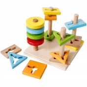 SGILE Wooden Educational Shapes Geometric Sorting Stacking Block Toy, 4-shape Puzzles Games Birthday Gift for Preschool Baby Toddlers