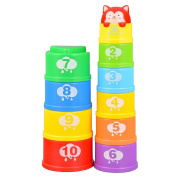 Goolsky G108 Stacking Cups Learning Count Number Tower Bath Toys Toddlers Early Educational Stacker