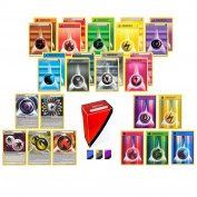 100 Pokemon Energy Cards includes 90 Basic Energy Cards, 5 Holo Energy Cards, 5 Special Non-Basic Energy Cards and TopDeck Deck Box