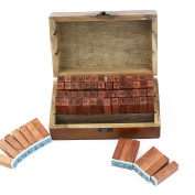 ULTNICE 70pcs Alphabet Stamps Number Stamps Symbol Rubber Stamps with Wooden Box