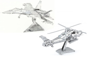 3D Metal Models Of Aviation Collection - Fighter Jet, Attack Helicopter - DIY Toy Metal Sheets Assembling Puzzle, 3D puzzle – 2 Pack