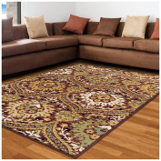 Superior Designer Augusta Collection Area Rug, 8mm Pile Height with Jute Backing, Beautiful Floral Scalloped Pattern, Anti-Static, Water-Repellent Rugs - Red, 1.5m x 2.4m Rug