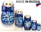 "Russian Nesting Doll - ""Snow Queen"" - Hand Painted in Russia -- MEDIUM SIZE - Traditional Matryoshka Babushka (6.75``"