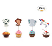 Maydolbone 24pcs Elephant Spotted dog unicorn monkey Baby Cupcake Toppers - for jungle themed birthday or baby shower Food Picks Decor And Cupcake Party Pick