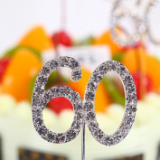 Finduat 60 Cupcake Toppers Crystal Rhinestone Decoration for 60th Anniversary & Birthday & Party Supply