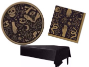 Spritz Halloween Spooky Black & Gold Tableware Kit Including Plates Napkins & Tablecover for 16