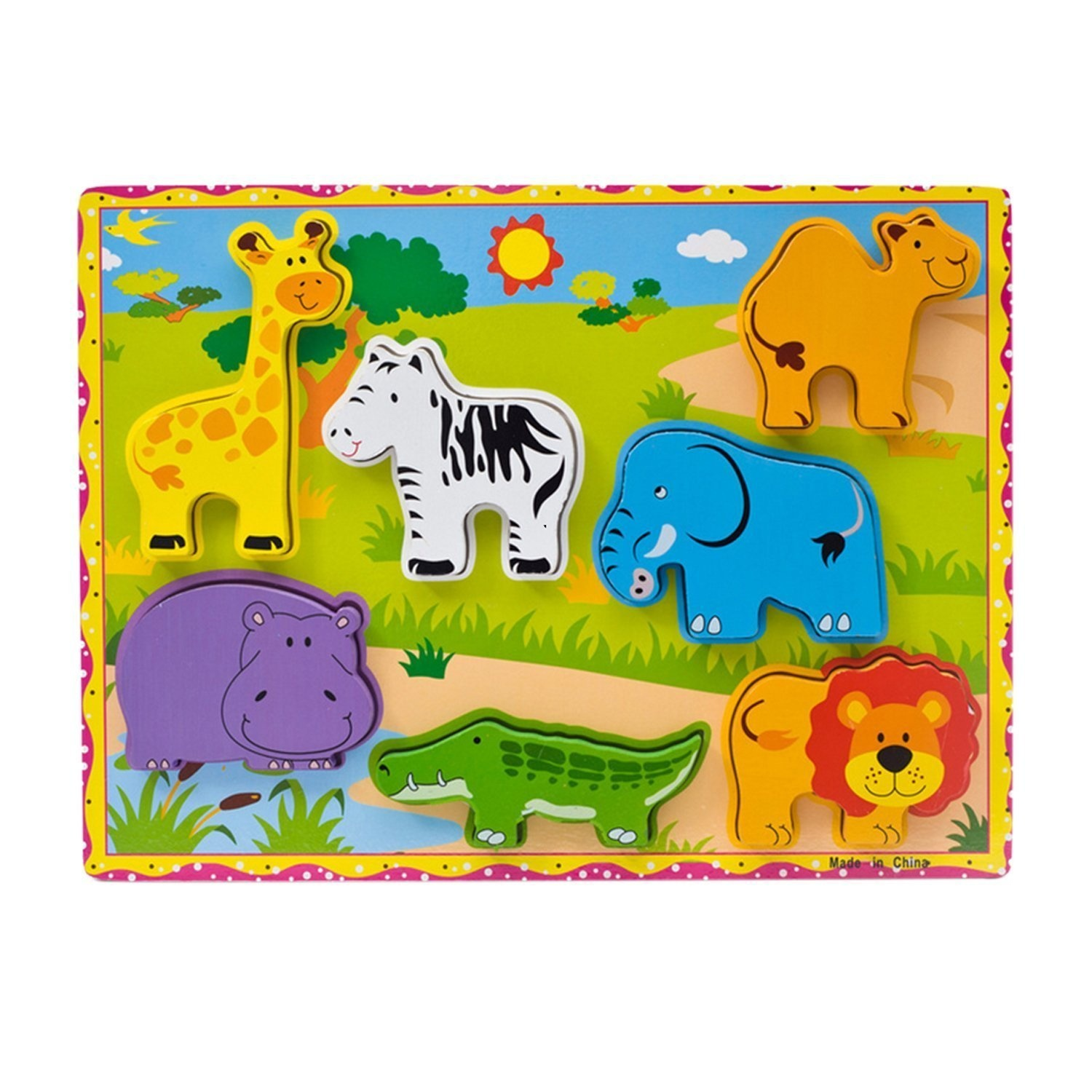 Yarssir Wooden Wild Farm Animals Chunky Wooden Puzzle For Toddlers