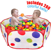 Click N Play Kids Ball Pit Playpen, With 200 Crush Proof Play Balls