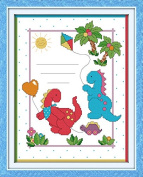 Cross Stitch Embroidery Starter Kit including 11 Count 30cm x 38cm classic reserve Aida coloured threads and tools Dinosaur Baby Birth Certificate