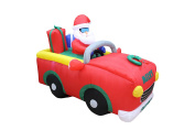 1.8m Long Lighted Christmas Inflatable Santa Claus Riding Red Car with Gift Boxes Indoor Outdoor Yard Art Decoration