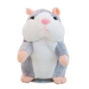 Creative Nod Talking Hamster Toys Repeats What You Say Electronic Pet Talking Plush Buddy Mouse for Child Surprise Gift - Grey
