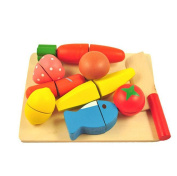 QZKH Cutting Fruit And Vegetable Set - Wooden Play Food Kitchen Accessory