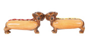 Adorable Hot Dog Buns Doxies Ketchup Mustard Salt and Pepper Shaker Set Cute Dachshund Wiener Dog Tabletop Decoration SP Set