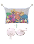 Mesh Bath Toy Organiser + 2 Ultra Strong Hooks Suction Cups – The Perfect Net for Bathtub Toys & Bathroom Storage – for Kids, Toddlers & Adults