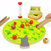 Lanlan Wooden Funny Educational Toy Colourful Fruit Tree Clip Balls Toy Improve Hand-eye Coordination Home Game