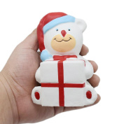 NOMEN 11CM Soft Christmas Gifts Bear Cartoon Squishy Slow Rising Squeeze Toy Phone Straps