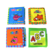 Coolplay 4 PCS Non-toxic Cloth Soft Book Infant Toddler Activity Toy for Baby Gift - BB Device Inside - Letters,Cute Animals,Vehicle,Fruit