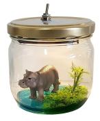 Marmelada Lights Story in a Jar Junior Hippo in a lake, handmade LED 3D children night light Bookshelf or Tabletop, battery operated nursery baby kid's night lamp