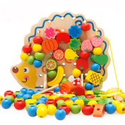 EITC Baby Wood Puzzle Beaded Blocks Wear Rope Game Chirdren Hedgehogs Fruit and Vegetable Beaded Threading Toys