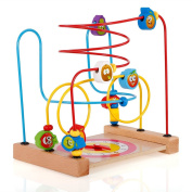 Goolsky Multipurpose Classic Wooden Beads Game Clock and Vegetable Pattern Activity Cube Educational Wood Toys for Kids