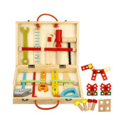 Goolsky Wooden Cartoon Construction Tools Toy Set For Kids' Manipulative Ability Training