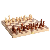 Goolsky Wooden Chess Toys Set Wooden Puzzle Chess Folding Chessboard Chess Set International Chess Intellectual Training for Children