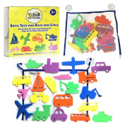 3 Bees & Me Bath Toys and Bath Organiser Set - 20 Foam Toys for Boys & Girls plus Storage Net
