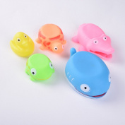 Lanlan 5 Pcs Cute Soft Rubber Float Sqeeze Sound Baby Wash Bath Toys Play Toys Animal Toys