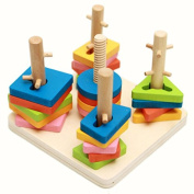 Shape Sorting Wooden Educational Baby Toy Prescool Match Geometric Stacking Sorters Game
