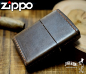 ZIPPO Zippo Zippo writer American American Ho Win Corporation chrome Excel leather vintage natural winding leather round ZIPPO leather genuine leather birthday present motorcycle bikie lapping