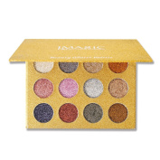 Tanali 12 Colours Glitter Bright Colourful Eyeshadow, Highly Pigmented,Shimmery Pressed Powder Palette
