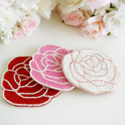 Rose beads coaster kitchen gadgets and rose products, cute, pink, stylish