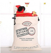 SOURBAN Santa Canvas Merry Christmas Santa Sacks Reindeer Gift Present Storage Bag
