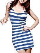 Allegra K Women's Horizontal Stripes Sleeveless Tank Dress Blue