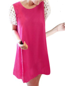 Chic Pullover Loose Fit One-Button Back Fuchsia Mini Dress XS for Lady