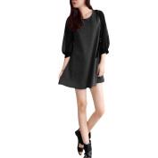 Women Semi Sheer Chiffion Capri Sleeve Slouchy Dress Dark Grey XS