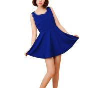 Ladies Round Neck Faux Pearls Decor A Line Dress Royal Blue XS