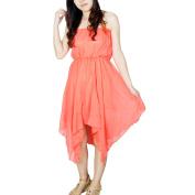 Women Sleeveless Strapless Dipped Hem Pleated Leisure Dress Watermelon Red XS