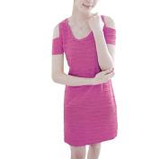 Women Short Sleeve Stretchy Scoop Neck Slim Casual Mini Dress Fuchsia XS
