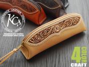 Fastener pen case craft / cowhide pencil case genuine leather