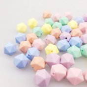 Baby Love Home Baby Silicone Teether 50pc 14mm Multi-faceted Candy Colour Beads Organic Rattle Sensory Toy DIY Nursing Necklace Accessories