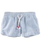 OshKosh B'gosh Little Girls' Hickory Stripe Sun Shorts, 6 Kids