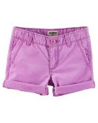OshKosh B'gosh Little Girls' Roll-Cuff Neon Twill Shorts, 3-Toddler