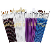 40 Paint Brush Super Pack - Great with Acrylic, Oil, Watercolour, Gouache