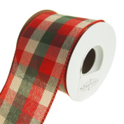 Homeford Chequered Holiday Plaid Wired Ribbon, Red/Green/Natural, 6.4cm , 10 Yards