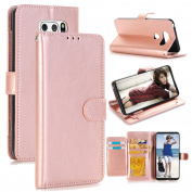 LG V30 Case, Ranyi [5 Card Slots Wallet] [ID & Card Holder] [Classic Solid Colour] [Kickstand Feature] Luxury PU Leather Flip Folio Magnetic Wallet Case for LG V30 (2017 Release), rose gold